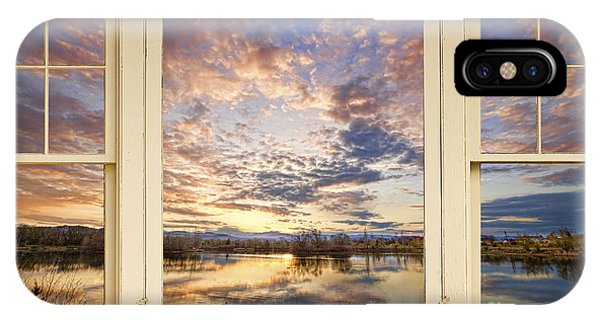 Golden Ponds Scenic Sunset Reflections 4 Yellow Window View IPhone Case