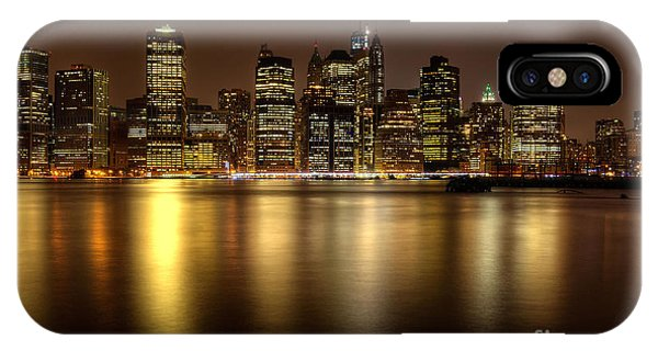 Golden Reflections Of Manhattan IPhone Case