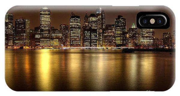 Golden Reflections Of Manhattan IPhone Case