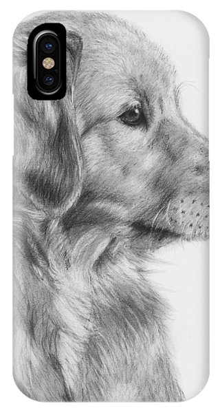 Golden Retriever Puppy In Charcoal One IPhone Case