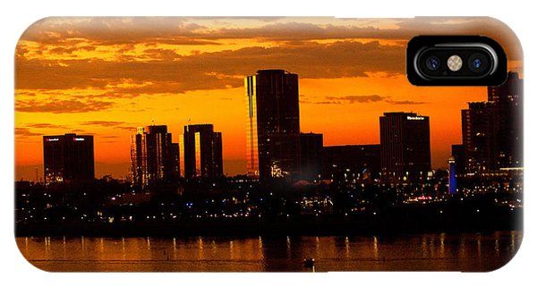 Golden Skys Cloak The Long Beach Skyline IPhone Case