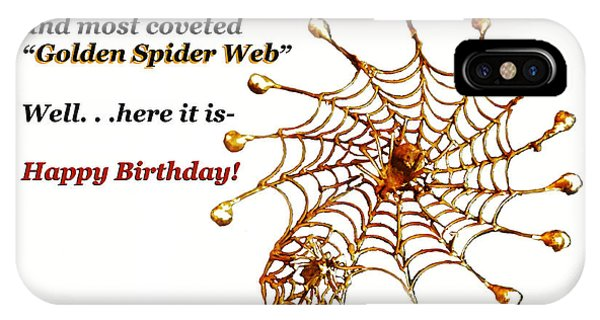 Golden Spider Web Birthday Card IPhone Case