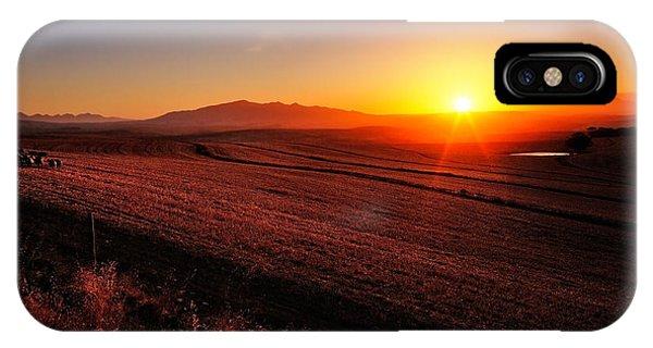 Sun Rays iPhone Case - Golden Sunrise Over Farmland by Johan Swanepoel