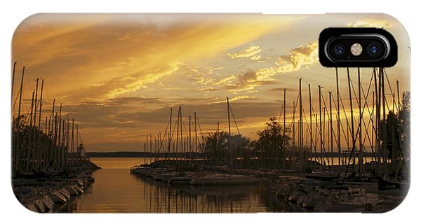 Golden Sunset With Sailboats IPhone Case