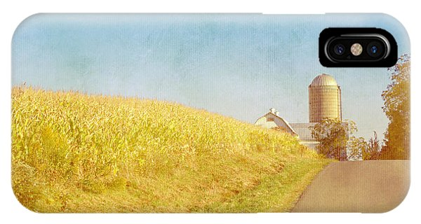 Golden Yellow Cornfield And Barn With Blue Sky IPhone Case