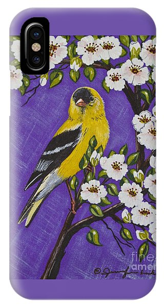 Goldfinch In Pear Blossoms IPhone Case