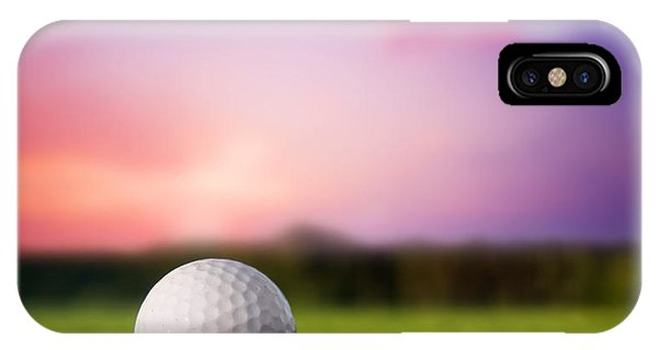 Golf Ball On Tee At Sunset IPhone Case