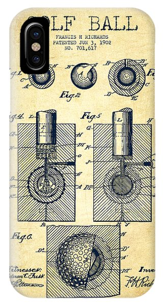 Golf Ball Patent Drawing From 1902 - Vintage IPhone Case