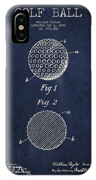 Golf Ball iPhone Case - Golf Ball Patent Drawing From 1908 - Navy Blue by Aged Pixel