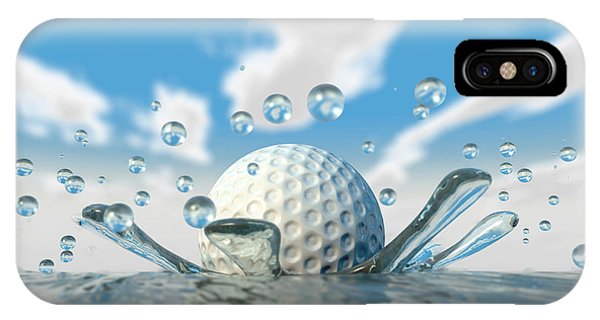 Golf Ball iPhone Case - Golf Ball Water Splash by Allan Swart
