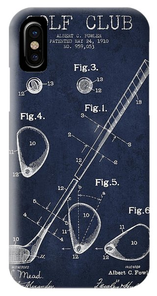 Golf Ball iPhone Case - Golf Club Patent Drawing From 1910 by Aged Pixel