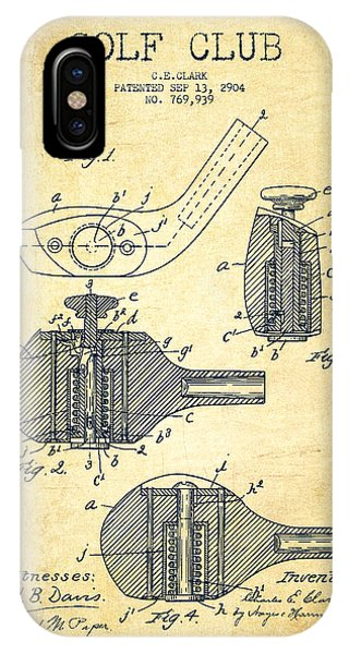 Golf Clubs Patent Drawing From 1904 - Vintage IPhone Case