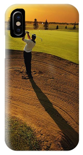 Golfer Taking A Swing From A Golf Bunker IPhone Case