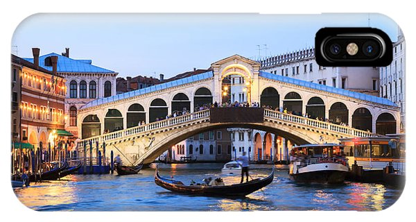 Sunset iPhone Case - Gondola In Front Of Rialto Bridge At Dusk Venice Italy by Matteo Colombo