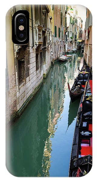 Gondolas And Canal, Venice, Veneto Phone Case by Russ Bishop