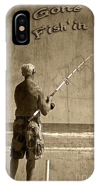 Gone Fish'in Text By John Stephens IPhone Case