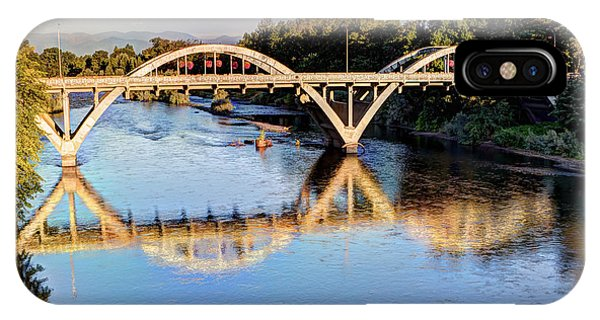 Covered Bridge iPhone Case - Good Morning Grants Pass II by Heidi Smith