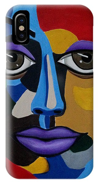 Colorful Illusion Abstract Face Art Painting, Big Brown Eye Art, Optical Artwork IPhone Case