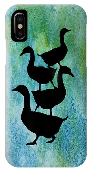 Teal iPhone Case - Goose Pile On Aqua by Jenny Armitage