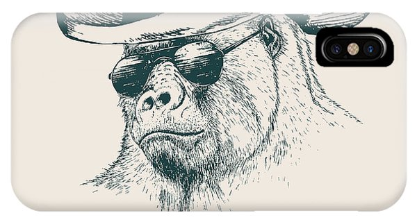 T Shirts iPhone Case - Gorilla Like A Texas Ranger Dressed In by Dimonika