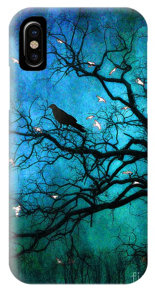 Teal iPhone Case - Gothic Surreal Nature Ravens Crow And Birds by Kathy Fornal