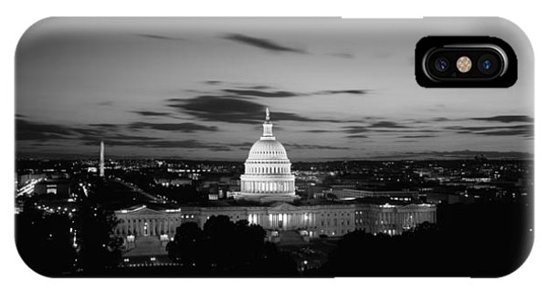 Capitol Building iPhone Case - Government Building Lit Up At Night, Us by Panoramic Images
