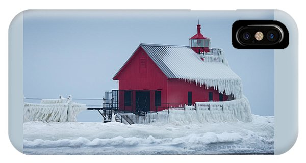 Grand Haven Lighthouse Encased In Ice IPhone Case