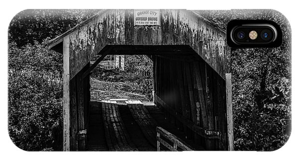 Grange City Covered Bridge - Bw IPhone Case
