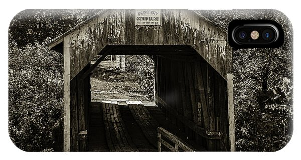 Grange City Covered Bridge - Sepia IPhone Case