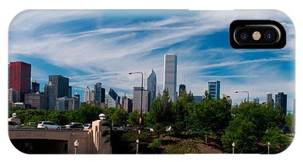 Chicago Skyline Art iPhone Case - Grant Park Chicago Skyline Panoramic by Adam Romanowicz