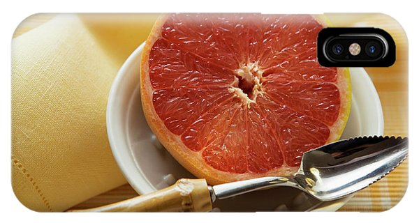 Grapefruit Half With Grapefruit Spoon In A Bowl IPhone Case