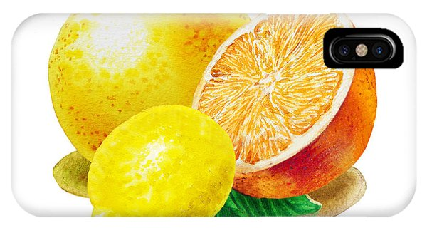 Grapefruit iPhone Case - Grapefruit Lemon Orange by Irina Sztukowski