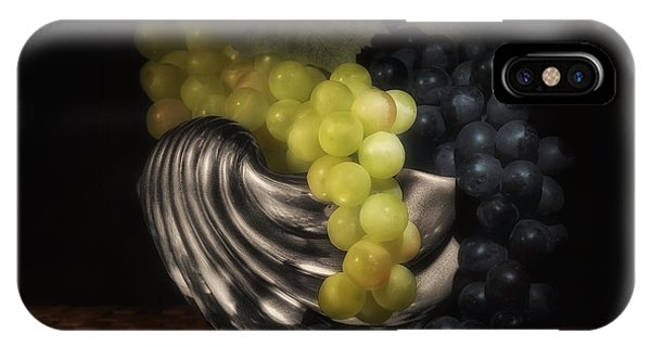 Fruit Bowl iPhone Case - Grapes In Silver Seashell Still Life by Tom Mc Nemar