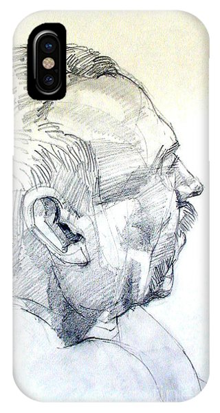 Graphite Portrait Sketch Of A Man In Profile IPhone Case