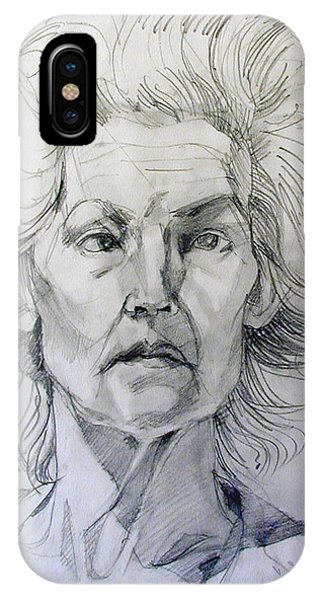Graphite Portrait Sketch Of A Well Known Cross Eyed Model IPhone Case