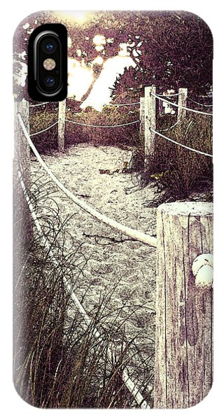 Grassy Beach Post Entrance At Sunset IPhone Case