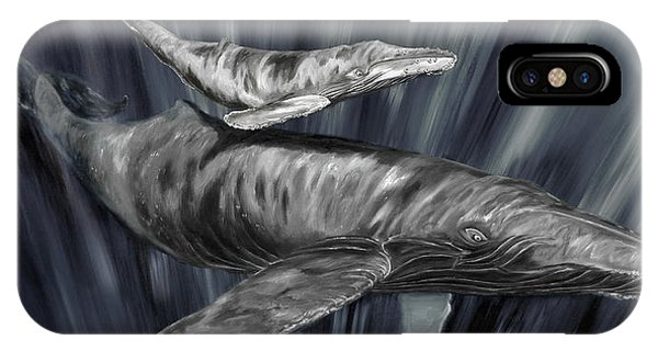 IPhone Case featuring the painting Gray Whales by Steve Ozment