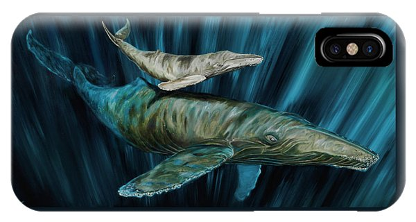 IPhone Case featuring the painting Graywhale Momma And Calf by Steve Ozment