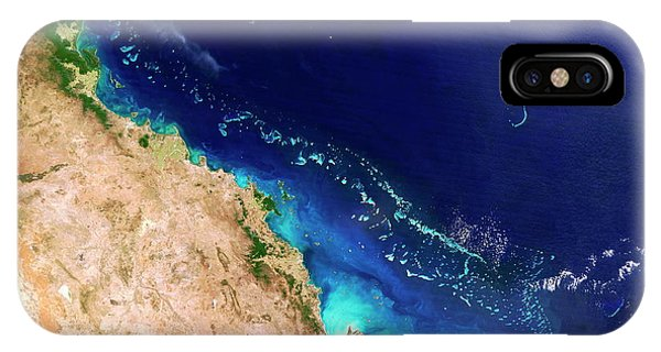 Barrier Reef iPhone Case - Great Barrier Reef by Nasa/science Photo Library