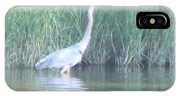 Great Blue Heron Reflecting Phone Case by Debbie Nester