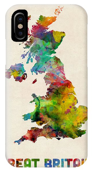 Northern Scotland iPhone Case - Great Britain Watercolor Map by Michael Tompsett