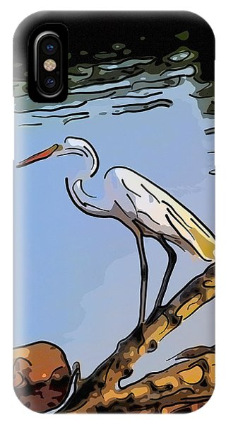 Great Egret Fishing Abstract IPhone Case