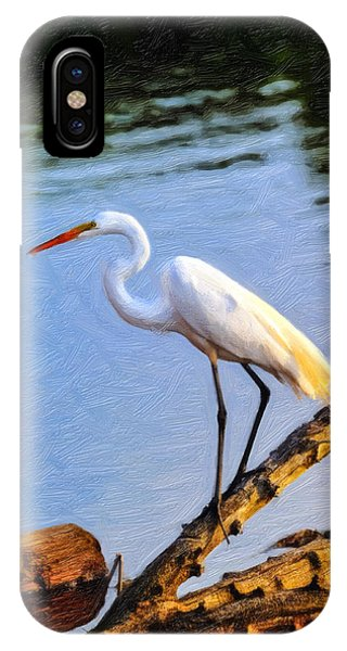 Great Egret Fishing Oil Painting IPhone Case