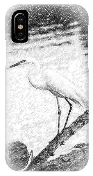Great Egret Fishing Pencil Sketch IPhone Case