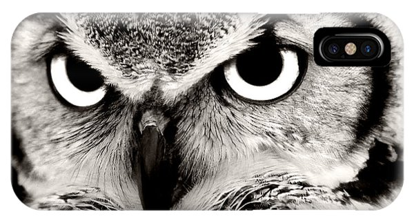 Great Horned Owl In Black And White IPhone Case