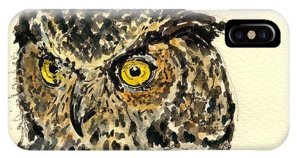 Horn iPhone Case - Great Horned Owl by Juan  Bosco