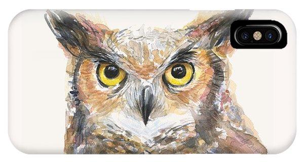 Horn iPhone Case - Great Horned Owl Watercolor by Olga Shvartsur