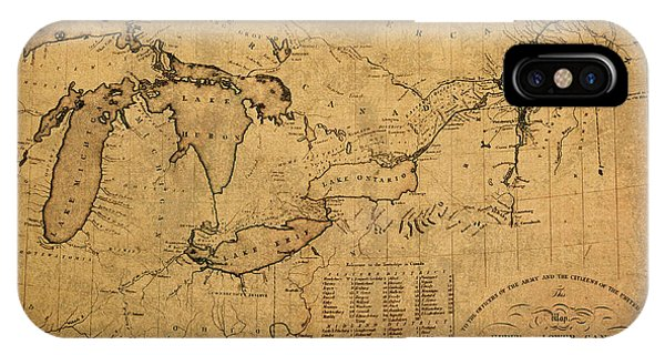 Great Lakes iPhone Case - Great Lakes And Canada Vintage Map On Worn Canvas Circa 1812 by Design Turnpike