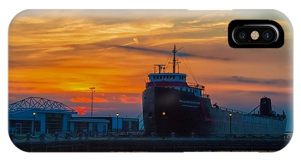 Great Lakes Freighter At Sunset IPhone Case