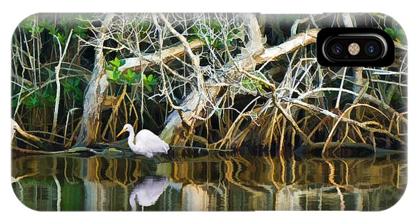 Great White Egret And Reflection In Swamp Mangroves IPhone Case
